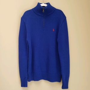 Ralph Lauren royal blue half zip sweater for boys